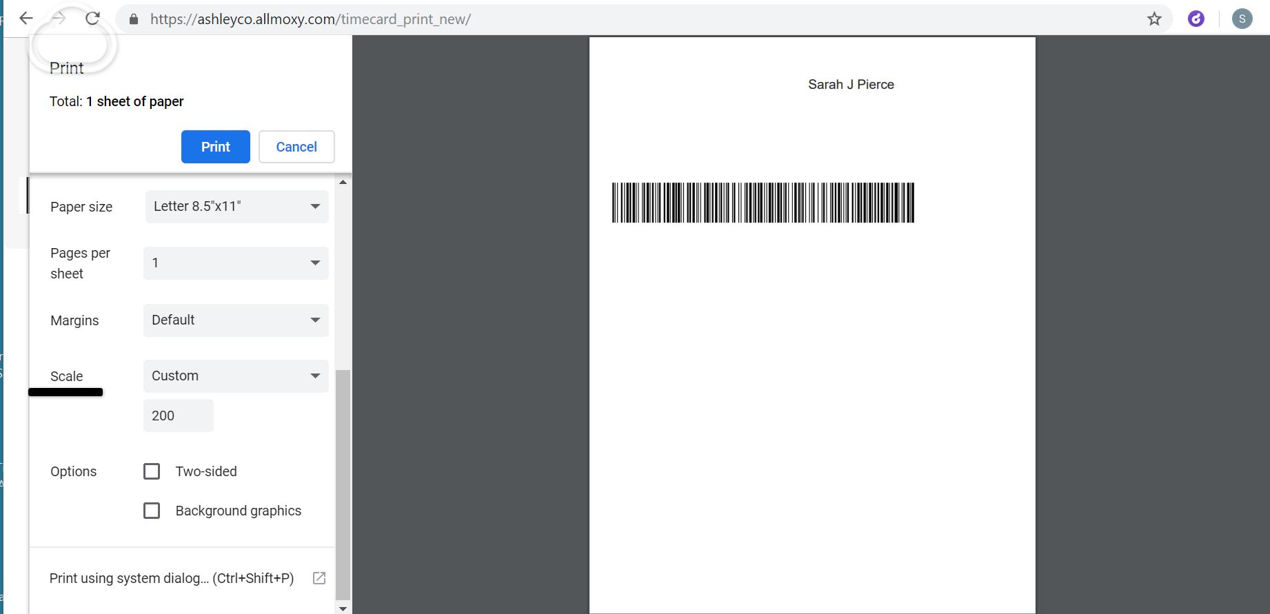 Printer Settings for Timecard